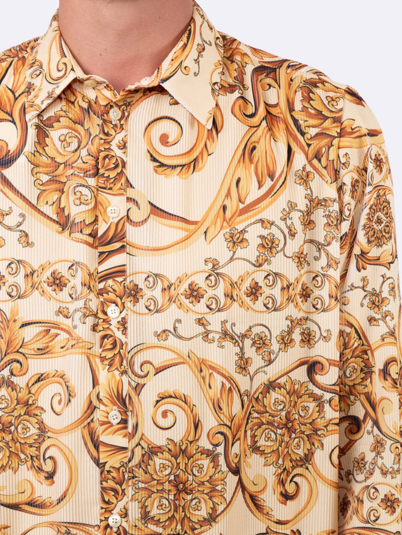 Yellow Pleated Baroque Print Shirt