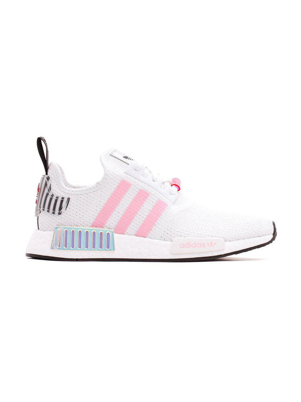 White & Pink NMD R1 Boost Sneakers