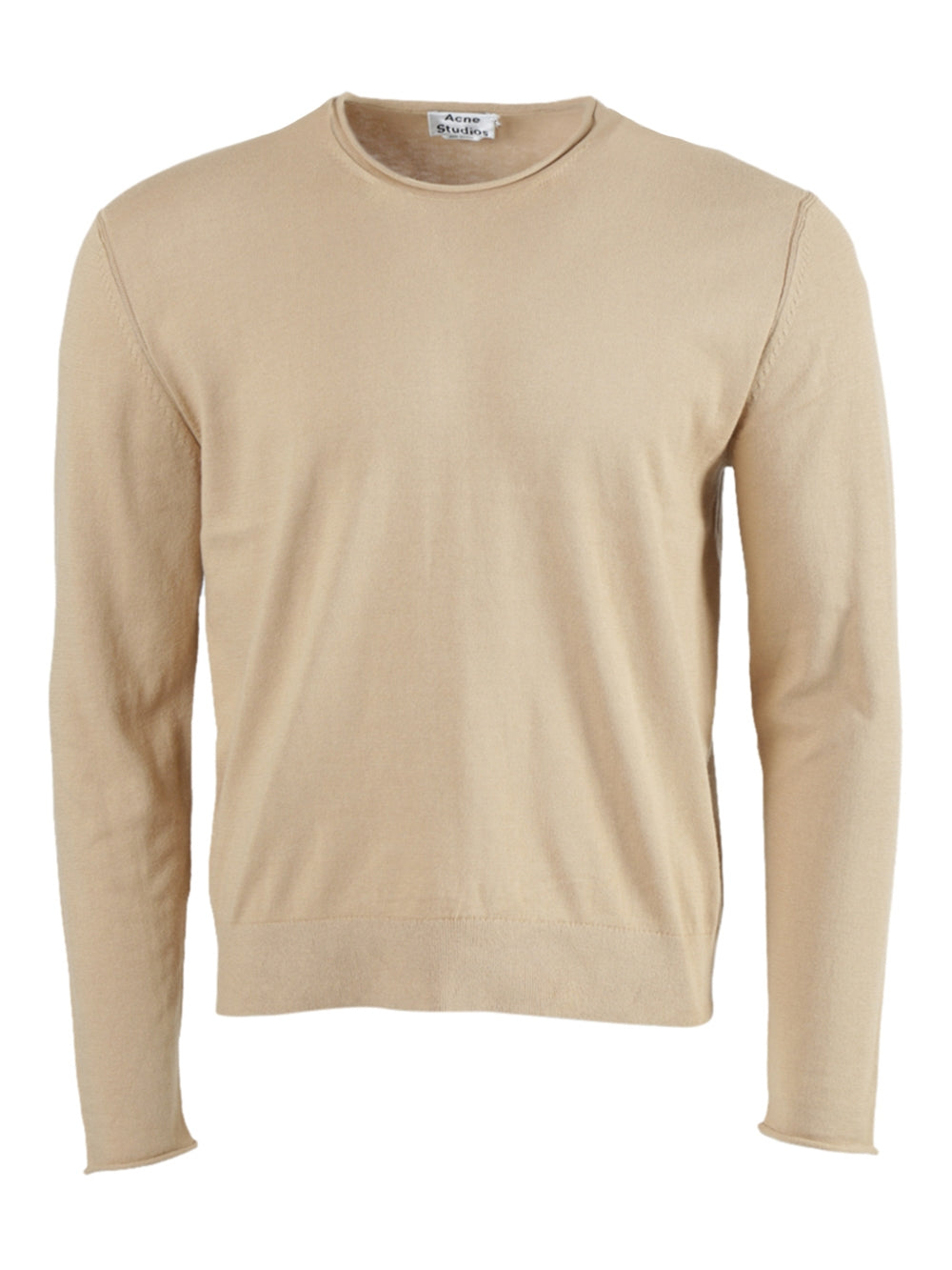 Beige Crewneck Knit Sweater