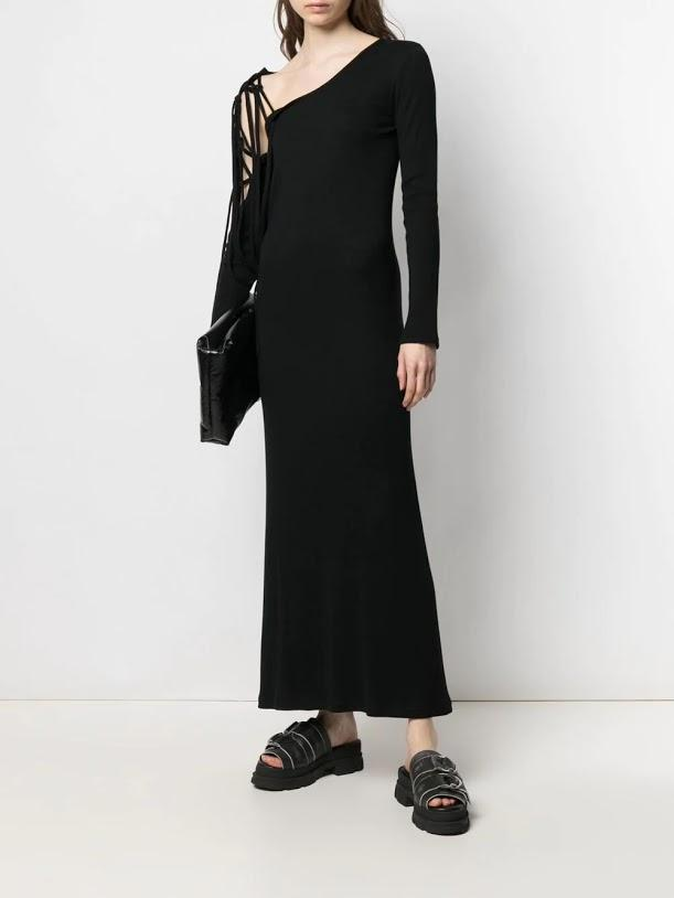 Black Cord Detail One Piece Dress