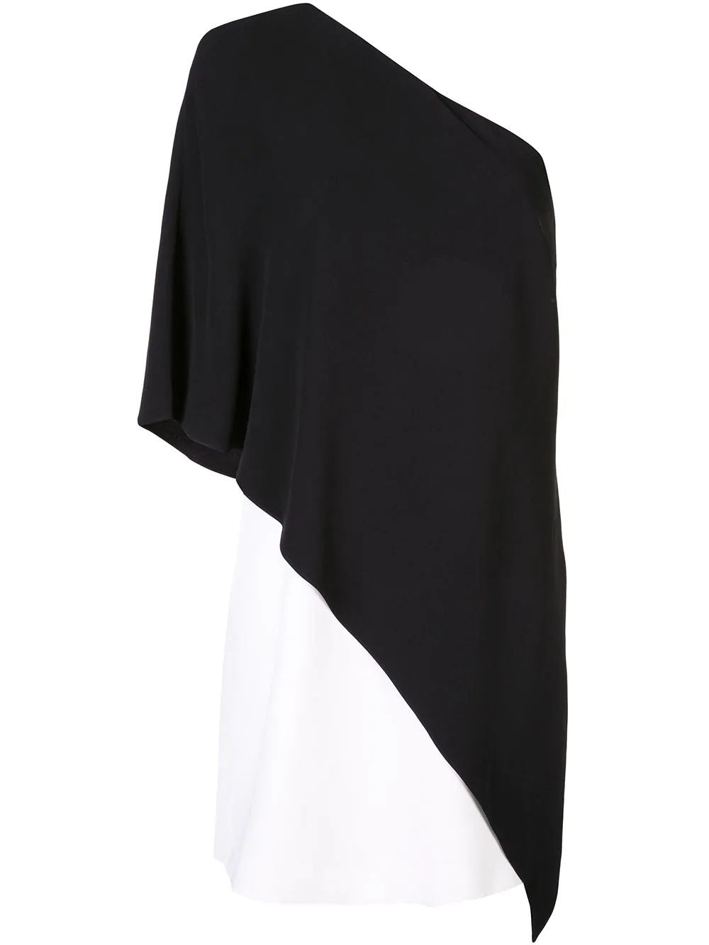 Black & White One Shoulder Shift Dress
