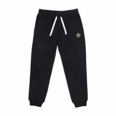Black Antique Logo Embroidered Pants
