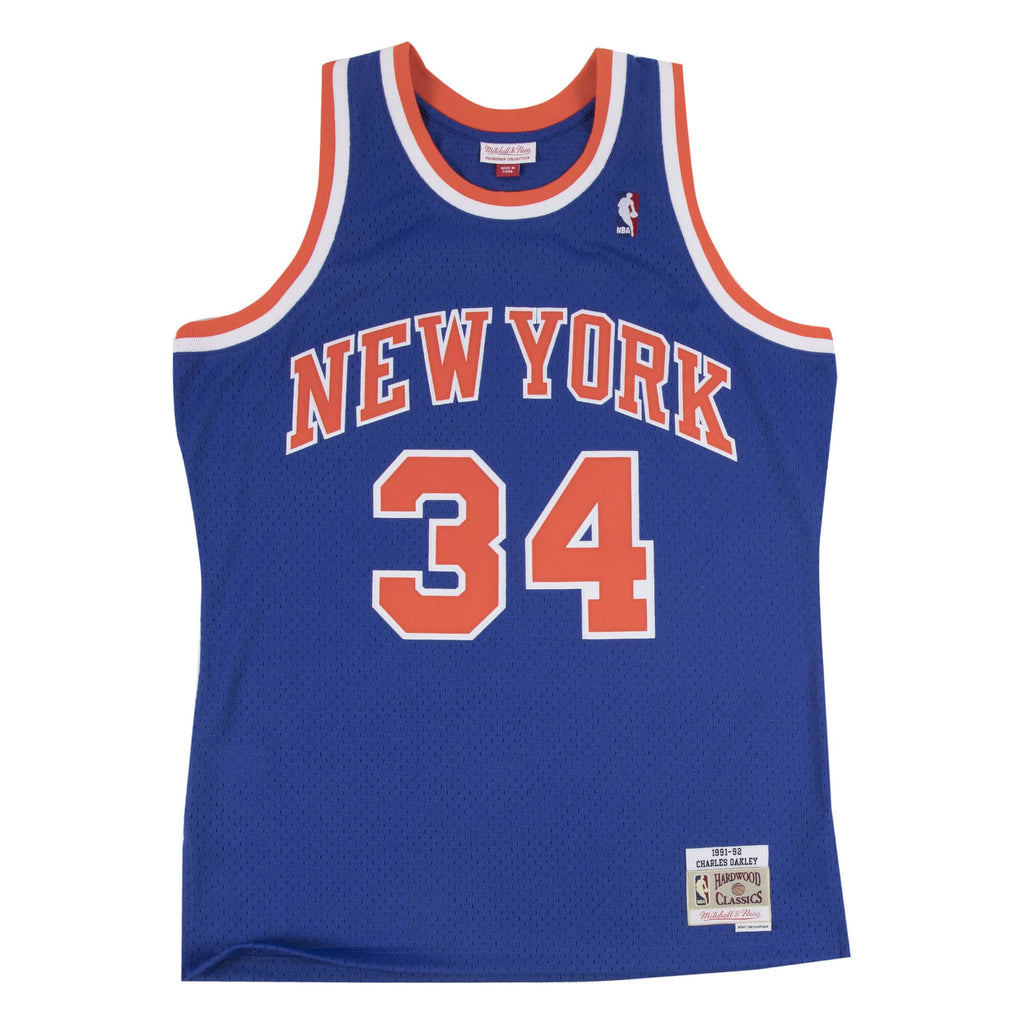 Blue NBA New York Knicks Charles Oakley #34 1991-92 Jersey