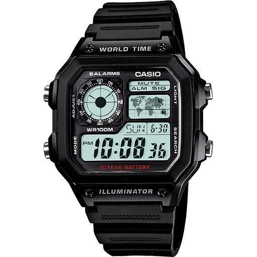 Black Classic Digital World Time Watch