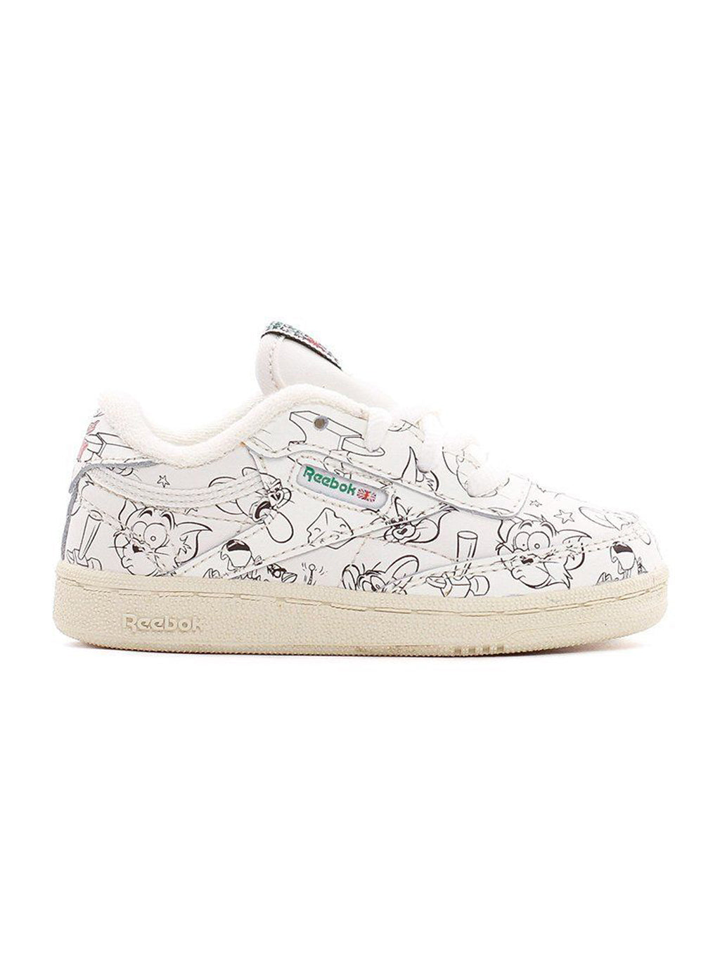 White & Green Tom and Jerry Club C 85 Mu Preschool Shoes