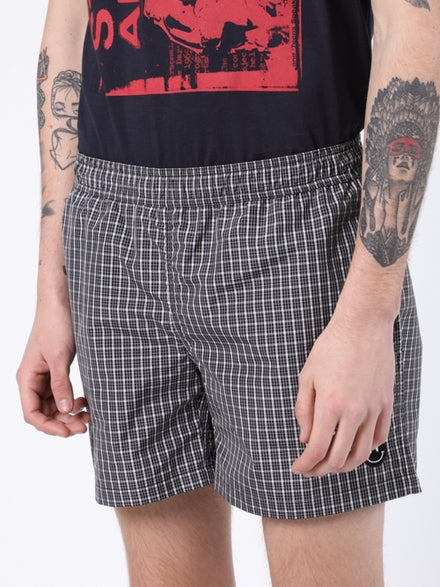 Black & White Check Print Swim Shorts