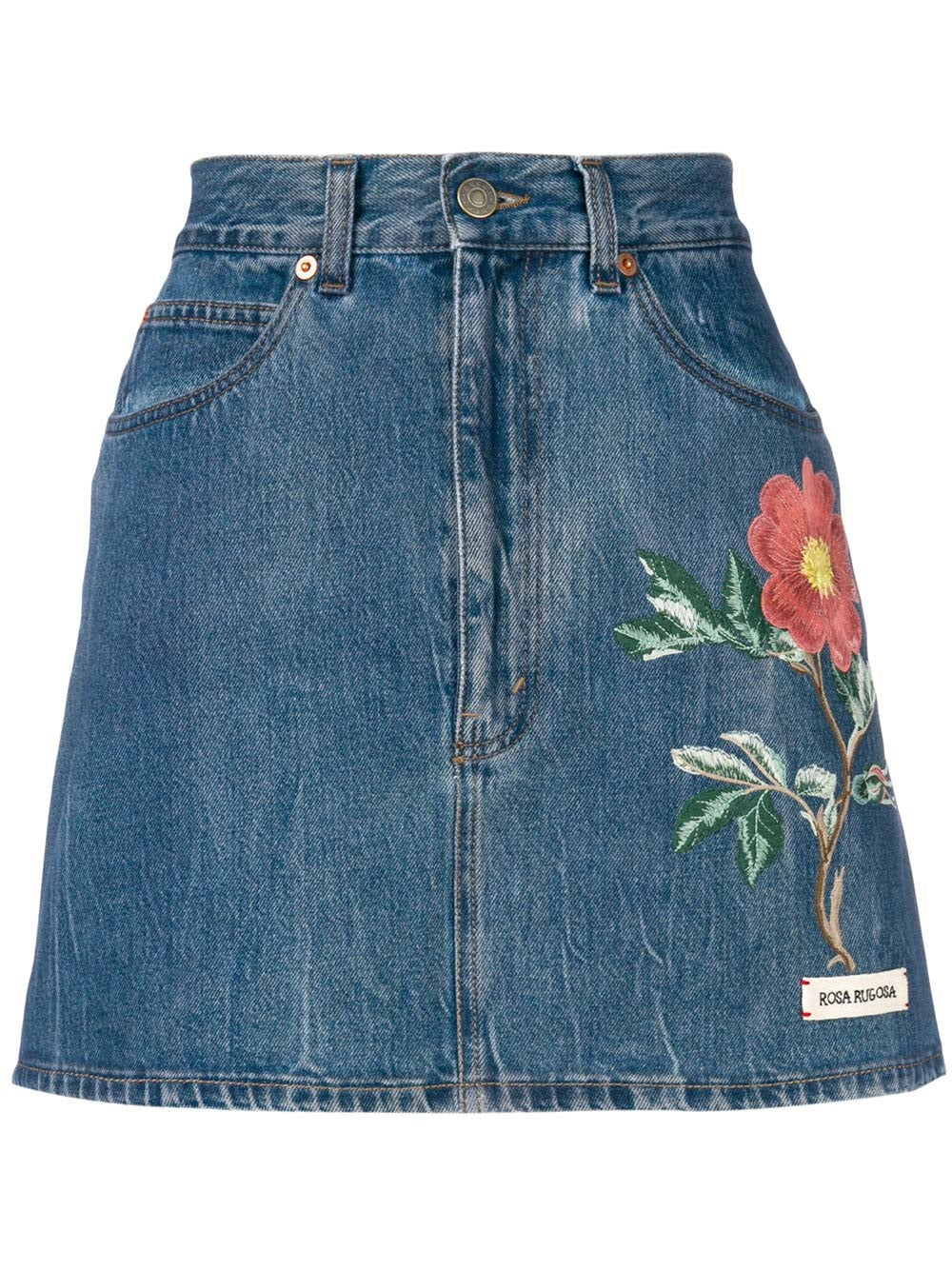 Blue Floral Embroidery Denim Skirt