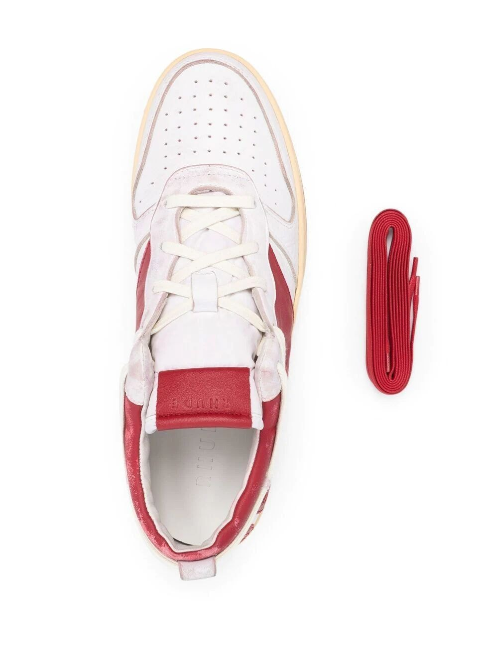 White and Red Low Top Sneakers