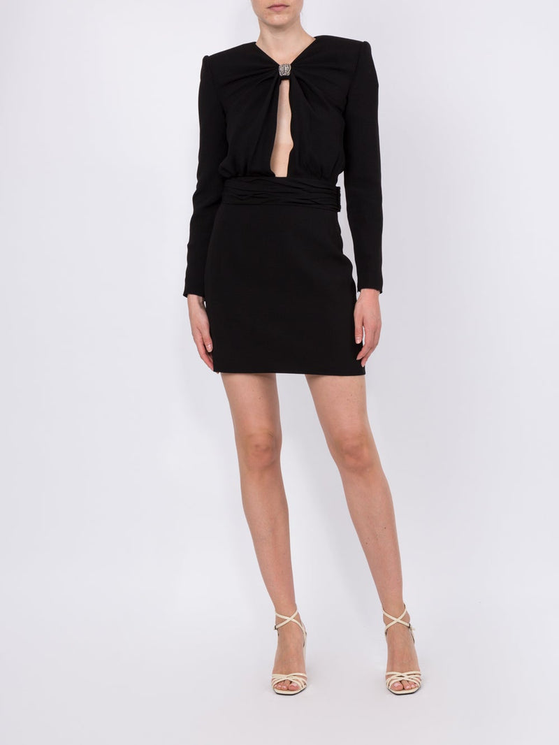 Black Embellished Cut Out Mini Cocktail Dress