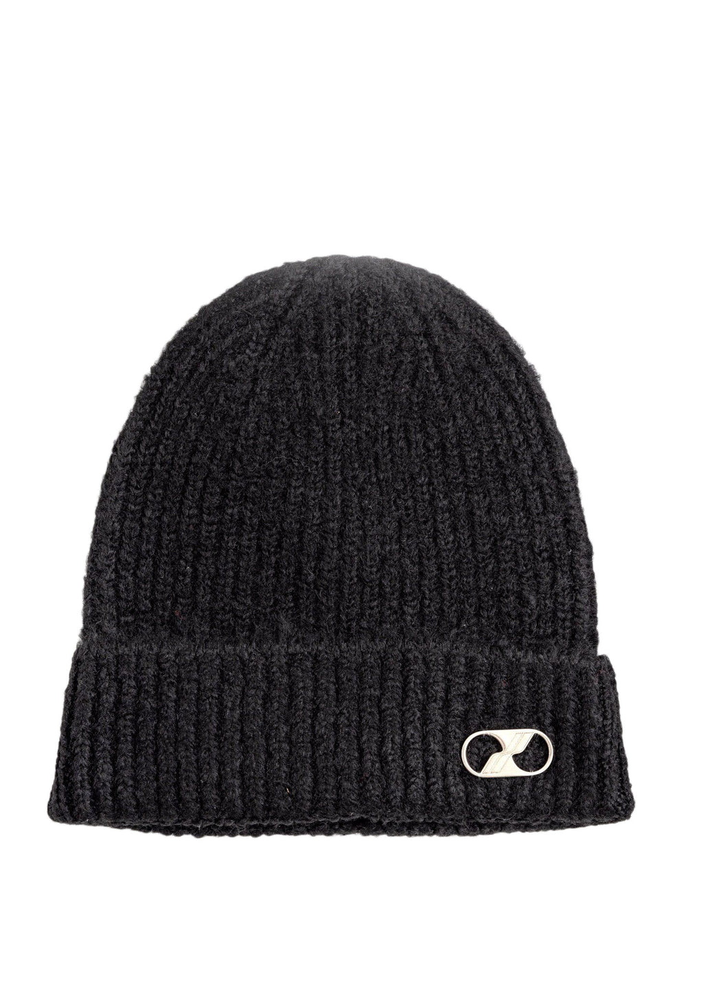 Black Embroidered Metal Logo Long Beanie