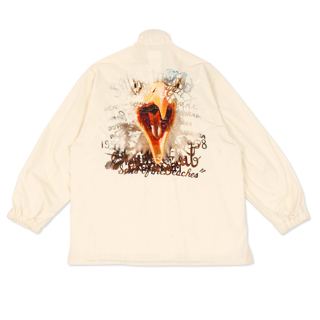 White Printed Chaos Embroidery Track Jacket