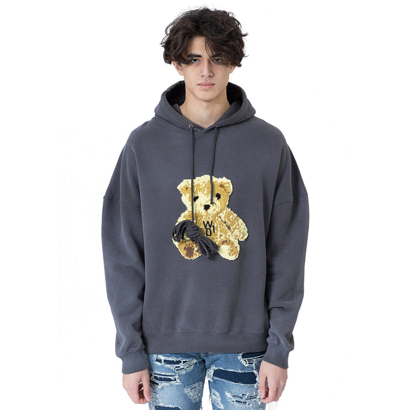 Grey Embroidered Teddy Hoodie