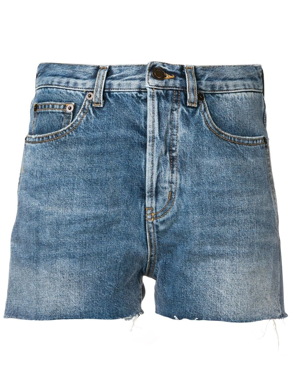 Blue Distressed Edge Shorts