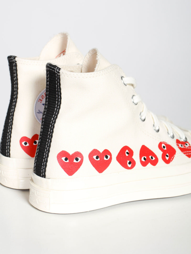Ivory Play Multi Heart Converse High Top Shoes