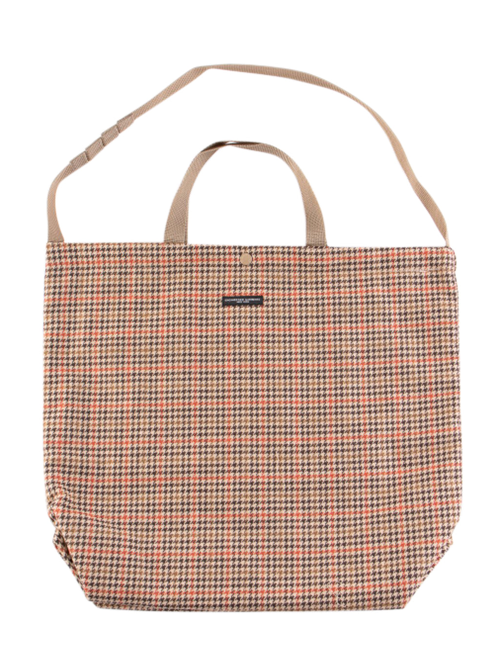 Tan and Orange Wool Big Gunclub Check Carry All Tote