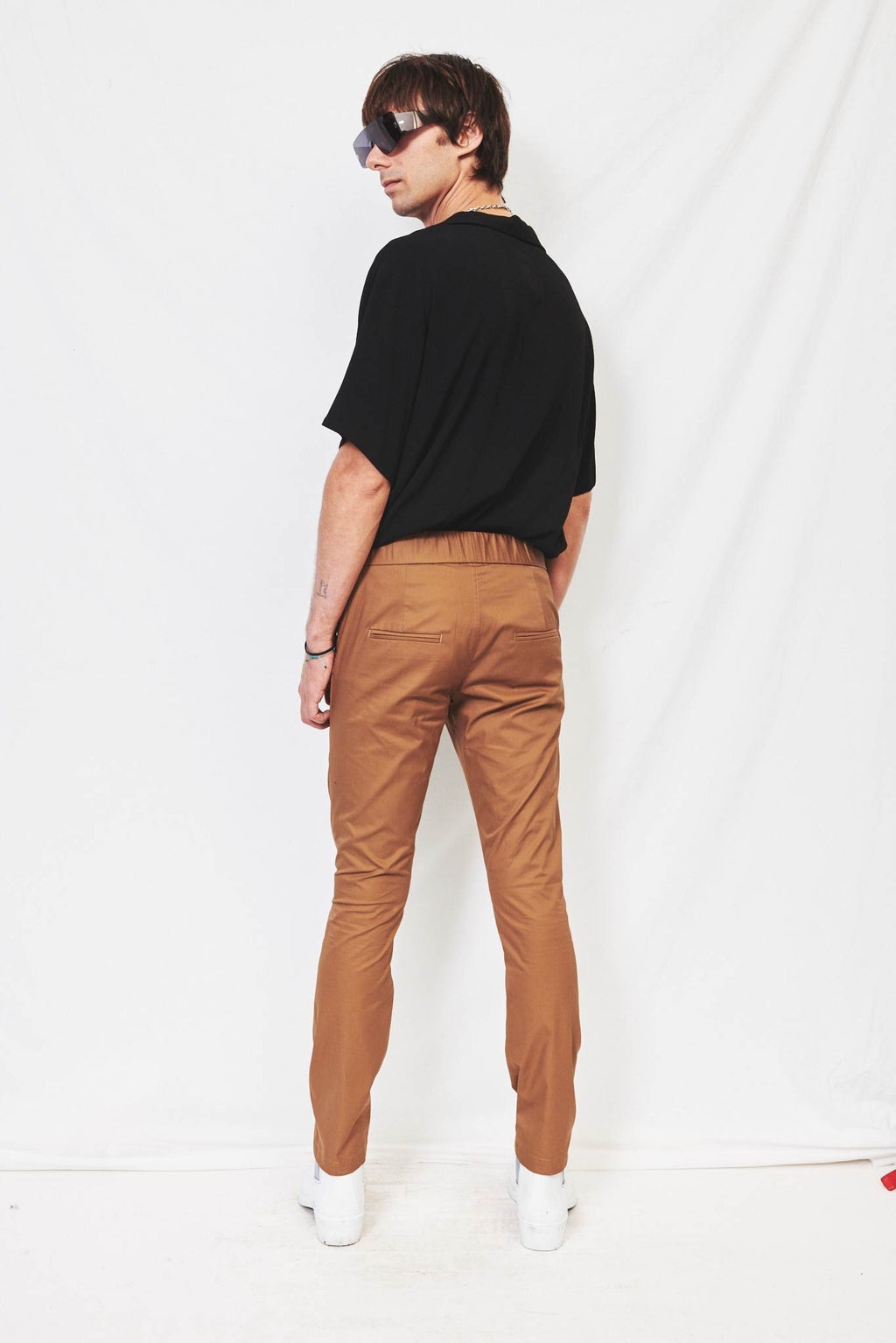 Brown Side Pockets Gather Pants