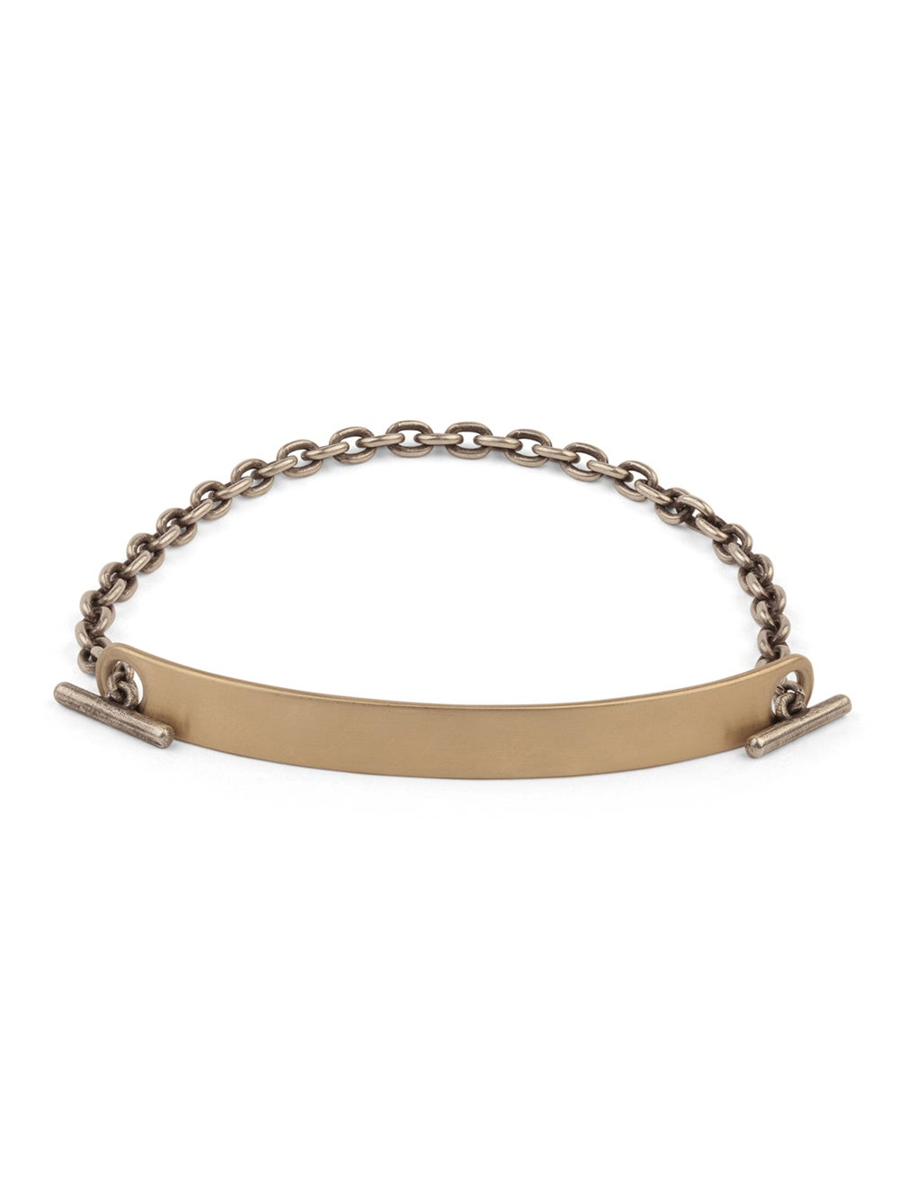 Gold Fine Scale ID Bar Bracelet