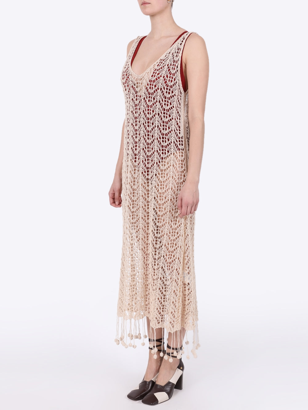 Cream Pompom-Hem Crochet Cotton Dress