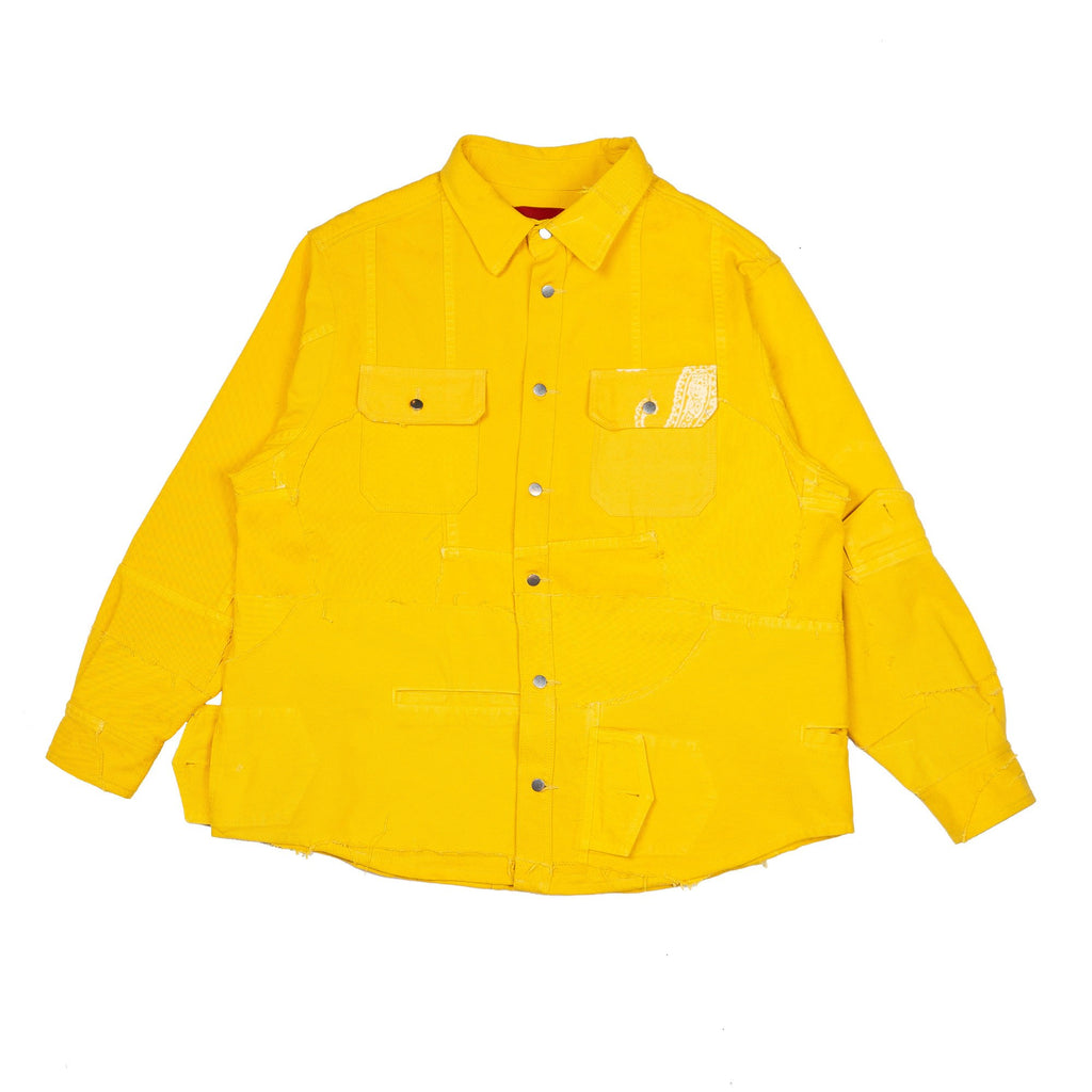Yellow Reworked Denim Paneled Work Shirt
