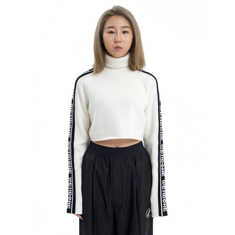 White Crop Turtleneck Sweater