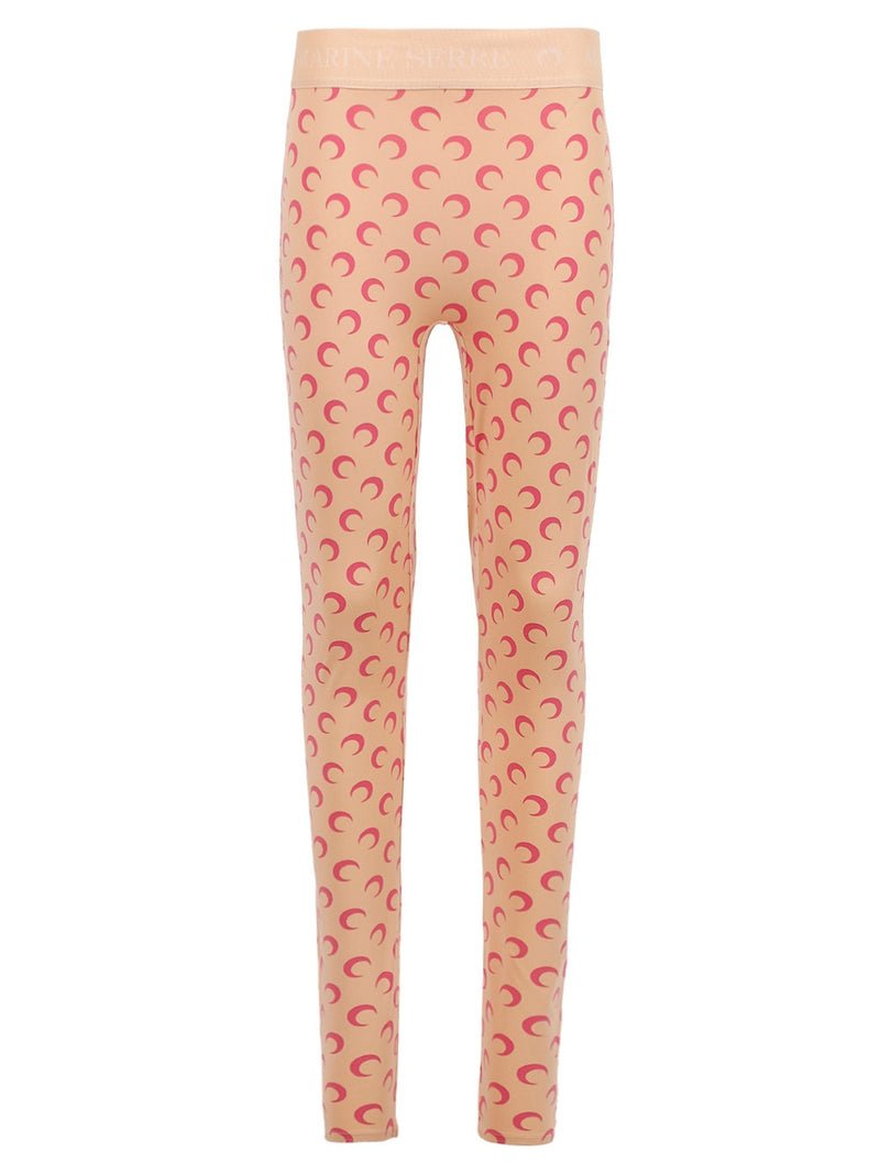 Tan Pink Moon Print Leggings