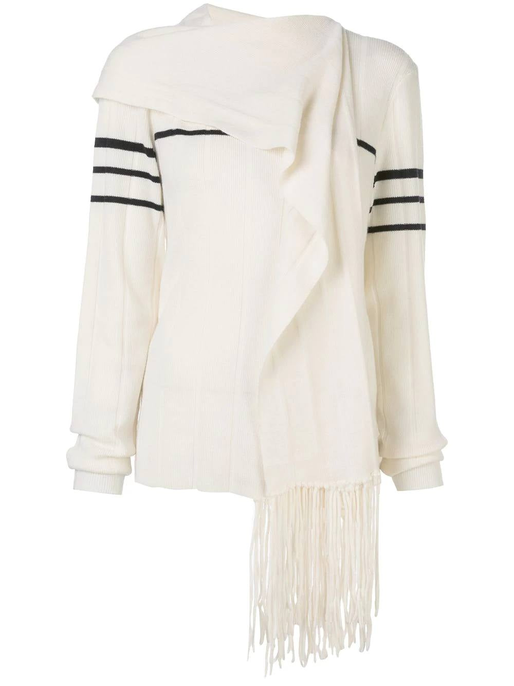 Ivory Fringe Scarf Knitted Sweater