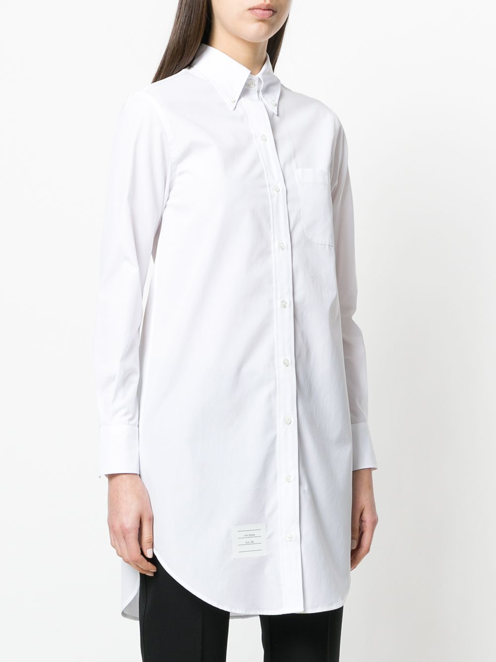 White GG Placket Thigh Long Sleeve Point Collar Dress