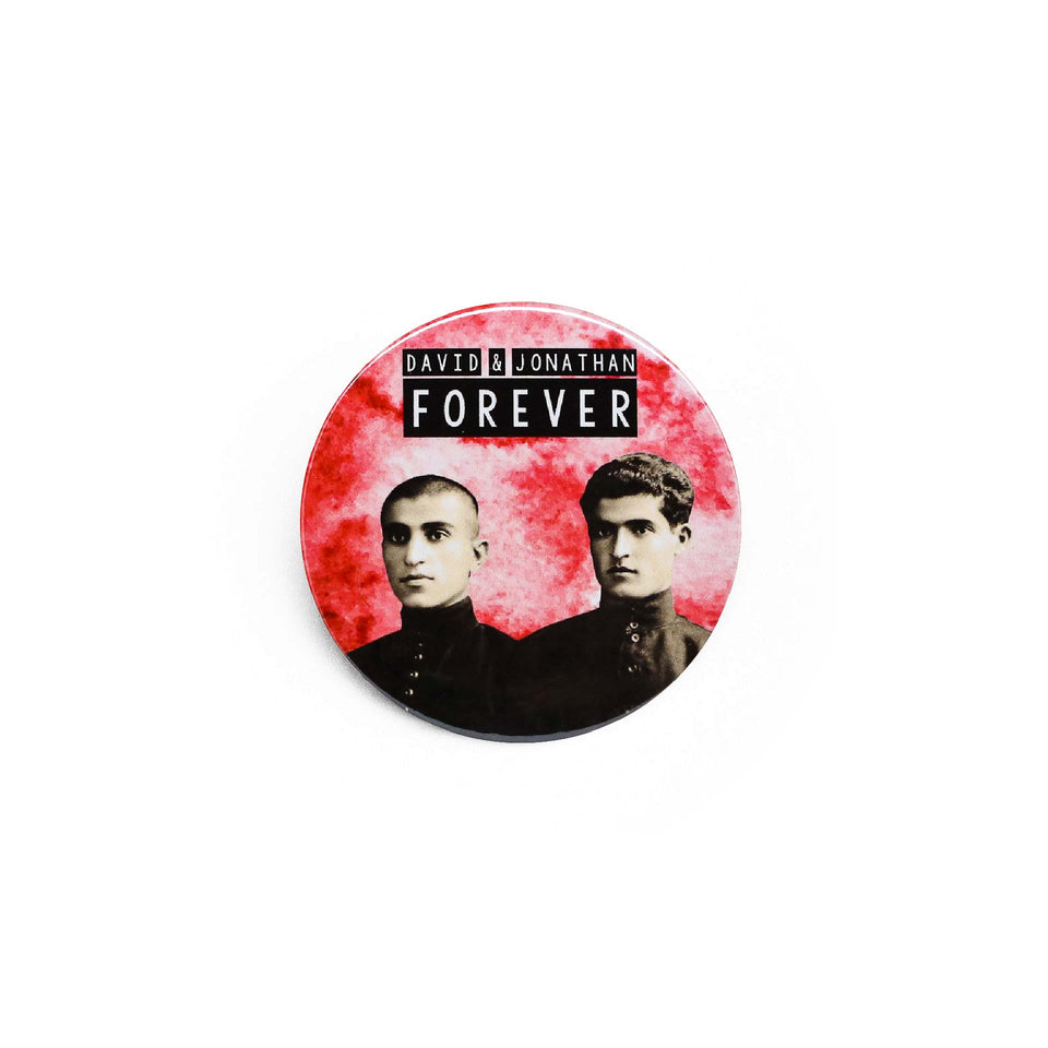 Badge et magnet David et Jonathan de Red Orb Creations