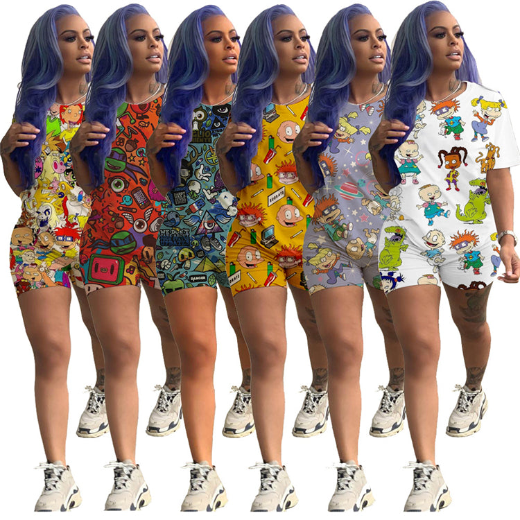 2020 fashion summer cartoon printed women 2 piece short sets clothing