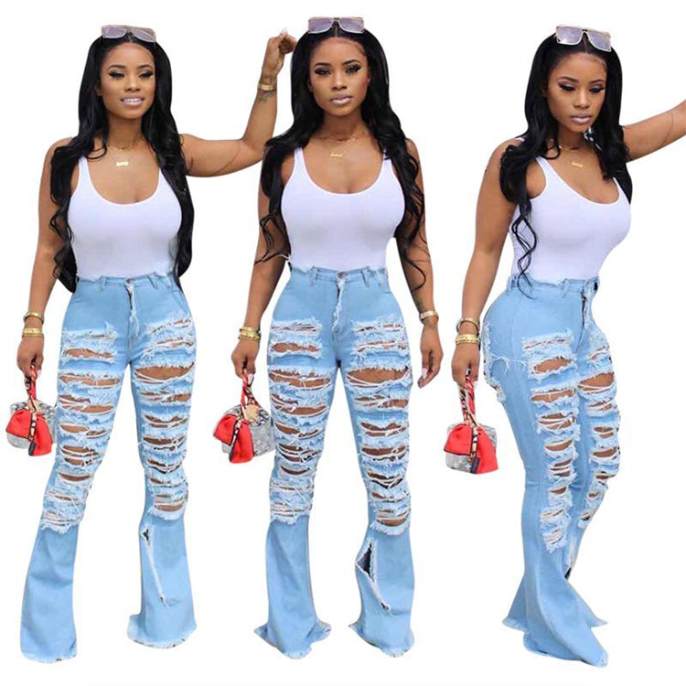2020 spring new fashion high waisted distressed jeans demin pants women