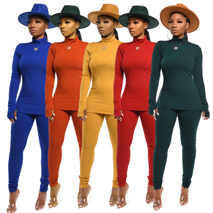 wholesale fashion long sleeve solid color pencil pants two piece set women clothing
