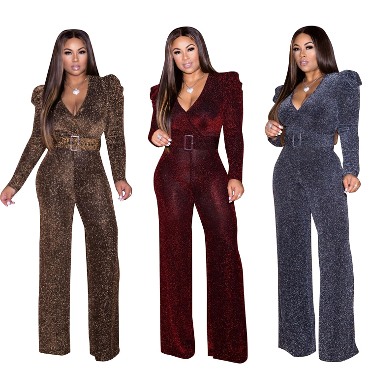 wholesale fashion elegant long sleeve v neck one piece jumpsuits and rompers
