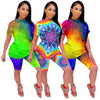 2020 fashion summer tie dye women 2 pieces short sets clothing