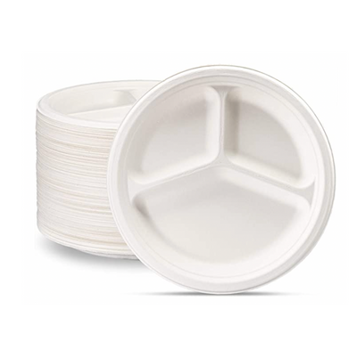 "10"" Compostable Biodegradable Plate 3-Compartment"