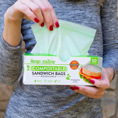 "Medium Sandwich Resealable Zip Compostable Food Storage Bags (6.7"" x 6.8"") Bundle Pack"