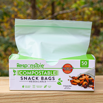 "Small Resealable Zip Compostable Food Storage Bags (6.5"" x 3.7"") Bundle Pack"