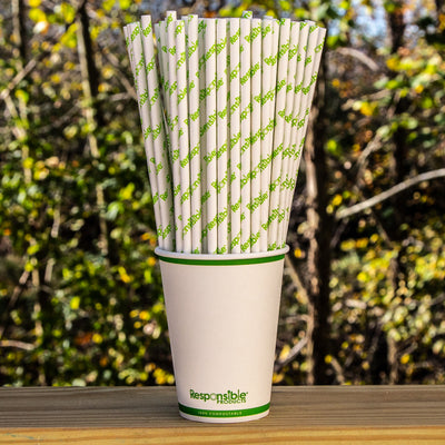 10 inch Compostable White Paper Straws