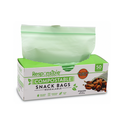 "Buy 2 Get 1 FREE - Resealable Zip Compostable Food Storage Bags (Small - 6.5"" x 3.7"")"