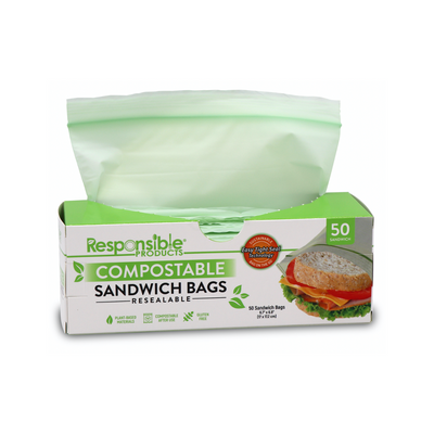 "Medium Sandwich Resealable Zip Compostable Food Storage Bags (6.7"" x 6.8"")"