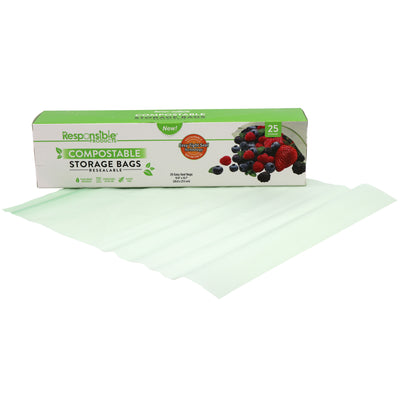 "Large Resealable Zip Compostable Food Storage Bags (10.6"" x 10.7"")"