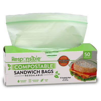 "Resealable Zip Compostable Food Storage Bags (Medium - 6.7"" x 6.8"")"