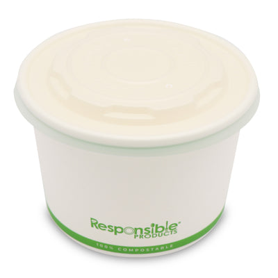 Compostable Lid for 12-32 oz Paper Bowls