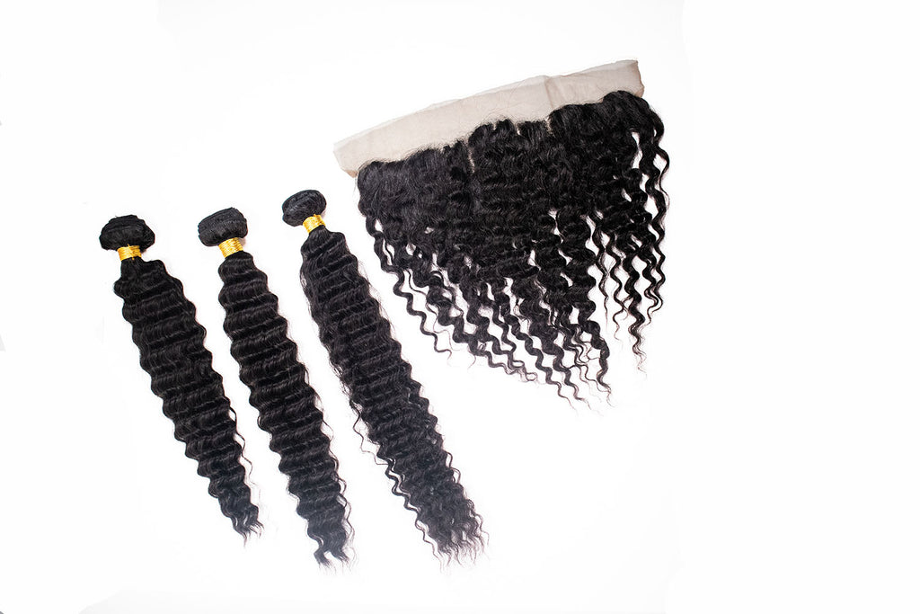 Crown Jewels Brazilian Pineapple Wave 3 Bundles w/ 13x4 Lace Frontal