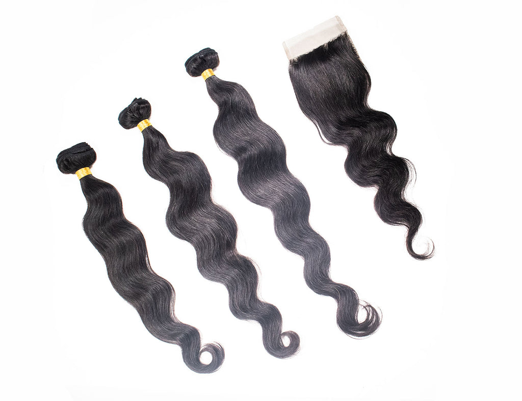 Crown Jewels Brazilian Body Wave 3 Bundles w/ 4x4 Lace Closure