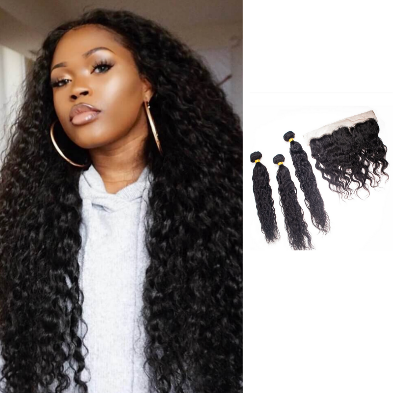 Crown Jewels Brazilian Ocean Wave 3 Bundles w/ 13x4 Lace Frontal