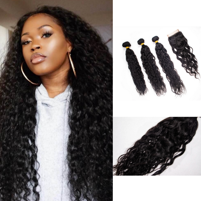 Crown Jewels Brazilian Ocean Wave 3 Bundles w/ 4x4 Lace Closure