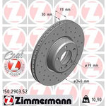 BMW ZIMMERMANN Front Drilled Brake Discs 150.2903.52 M140 M135 M235 M240
