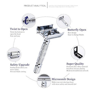 BAILI Safety Razor Butterfly Open Double Edge Shaver Knife
