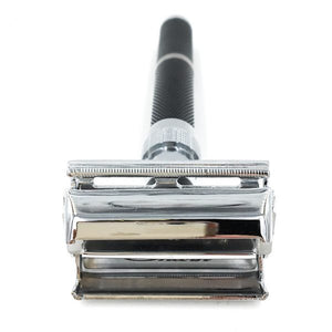 Parker Safety Razor, Butterfly Open, Long Black Handle/Collar Open 96R