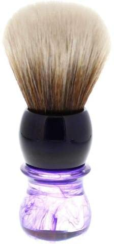 Load image into Gallery viewer, R1738 Yaqi Mew Brown Synthetic Shaving Brush, Purple Haze Handle